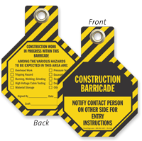 Construction Barricade Notify Contact Person Tag