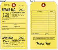 Custom Claim Check Reapir Tag
