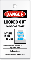 Print Own OSHA Danger Locked Out Photo Tag