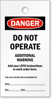 Print Own OSHA Danger Do Not Operate Tag