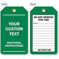 Custom Text And Instructions Green Plastic Tag