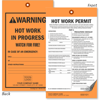 Custom Hot Work Permit Tag