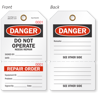 Danger Do Not Operate Perforated Repair Order Tag