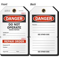 Danger Do Not Operate Perforated Repair Order Tag