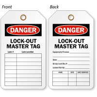 Danger Lock Out Master Tag