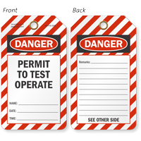 Danger Permit To Test Operate Tag