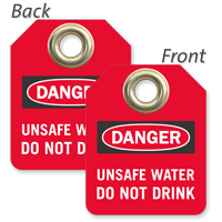 Danger Unsafe Water Do Not Drink Mini Valve Tag