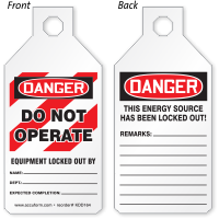 Do Not Operate Locked Out STOPOUT Tab Tag