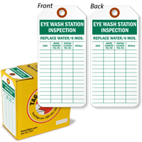 Eye Wash Station Inspection Tag-in-a-Box with Fiber Patch