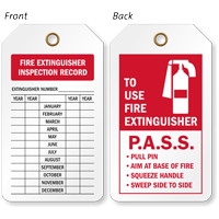 Fire Extinguisher Inspection Record 2-Sided Tag