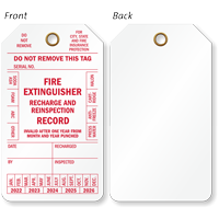 Fire Extinguisher Recharge And Reinspection Record Tag