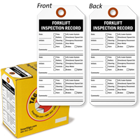Forklift Inspection Record Tag-in-a-Box with Fiber Patch
