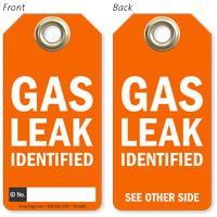 Gas Leak Identified Tag