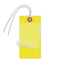 Yellow Self-Laminating Tags With Ties