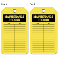 Maintenance Record Plastic Vinyl Inspection Tag