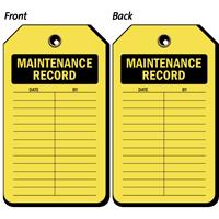 Maintenance Record Plastic Vinyl Inspection Tag
