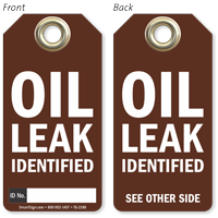 Oil Leak Identified Tag