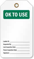 OK TO Use Ladder Inspection Tag