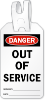 Out Of Service Danger Self Locking Tag