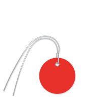 Plastic Circle Wired Tags, Red