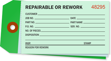 Inventory Tag Standard Repairable Cardstock