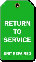 Return To Service Repair Tag