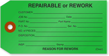 Color-coded rework/repairable tag.