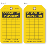 Scissor Lift Inspection Forklift Inspection Tag