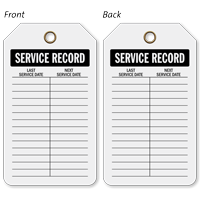 Service Record Plastic Tags, Vinyl Inspection Tag