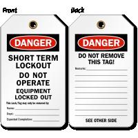 Danger Short Term Lockout Tag