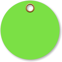 3 in. circle Fluorescent Green Vinyl Tags