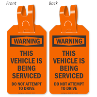 Warning Vehicle Is Being Serviced Self-Locking Tag