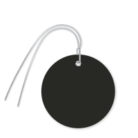 Pre-Wired Plastic Circle Tags; Black