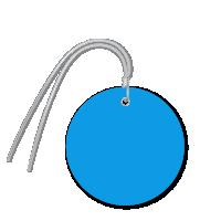 Pre-Wired Plastic Circle Tags; Dark Blue