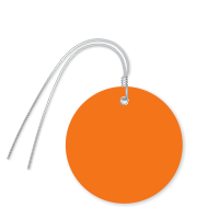 Pre-Wired Plastic Circle Tags; Orange