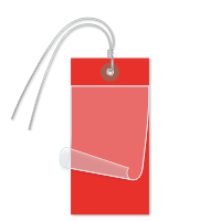 Red Self-Laminating Tags With Ties
