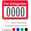 FIRE EXTINGUISHER Label, numbering, pack of 1000