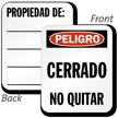 Spanish Danger Locked Out Padlock Label