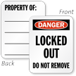 2-Sided Danger Locked Out Padlock Label