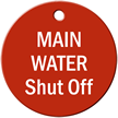 Main Water Shut Off Stock Engraved Valve Tag
