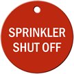 Sprinkler Shut Off Stock Engraved Valve Tag