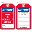 Notice Valve Is Normally Closed Tag