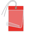 Blank Self-Laminating Write-On Tags With Wire, Red
