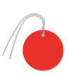 Pre-Wired Plastic Circle Tags; Red