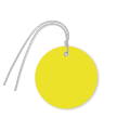 Pre-Wired Plastic Circle Tags; Yellow