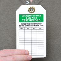 Emergency Shower, Eye Wash Test Record Inspection Tags