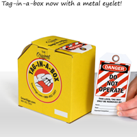 Danger tags on a roll with metal eyelet