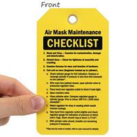 Air Mask Maintenance Checklist Tag