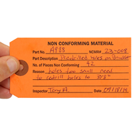 Non Conforming Material Inspection Tags